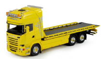 Tekno Scania flatbed recovery truck in yellow